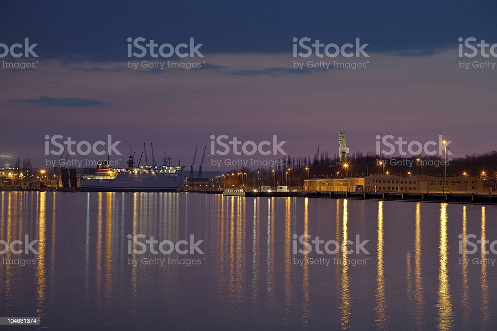 Port of Gdansk at night royalty-free stock photo