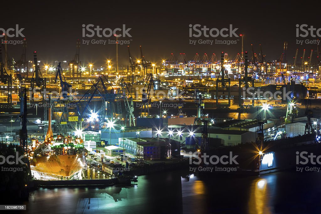 Port of Hamburg at night from Above stock photo