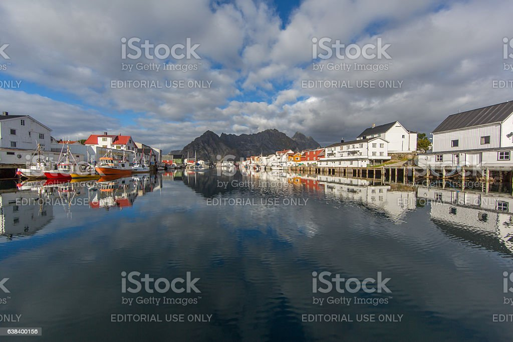 Port of Henningsvaer on Lofoten stock photo