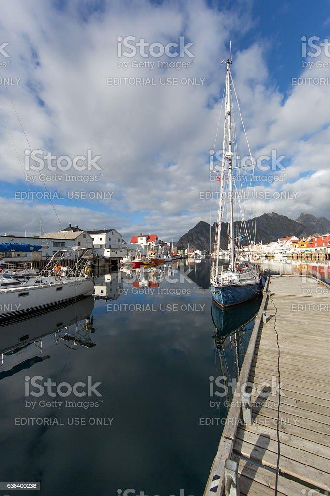 Port of Henningsvaer stock photo