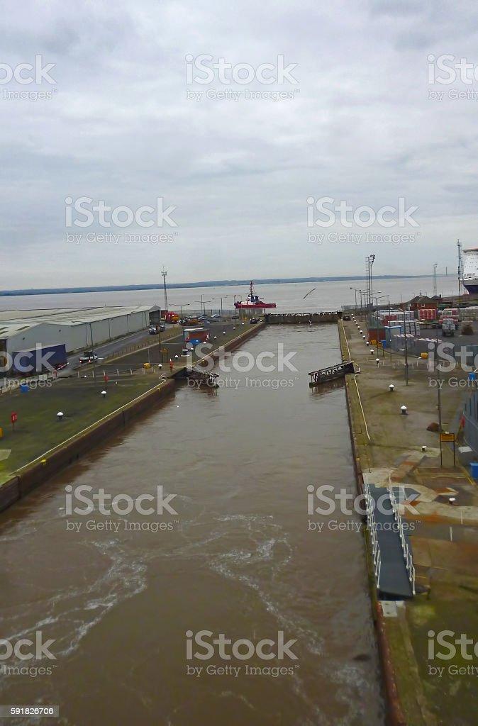 Port of Hull ferry terminal gates stock photo