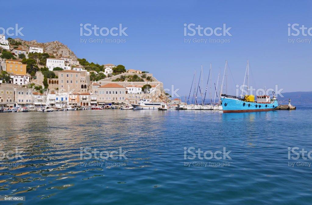 port of Hydra island Greece stock photo