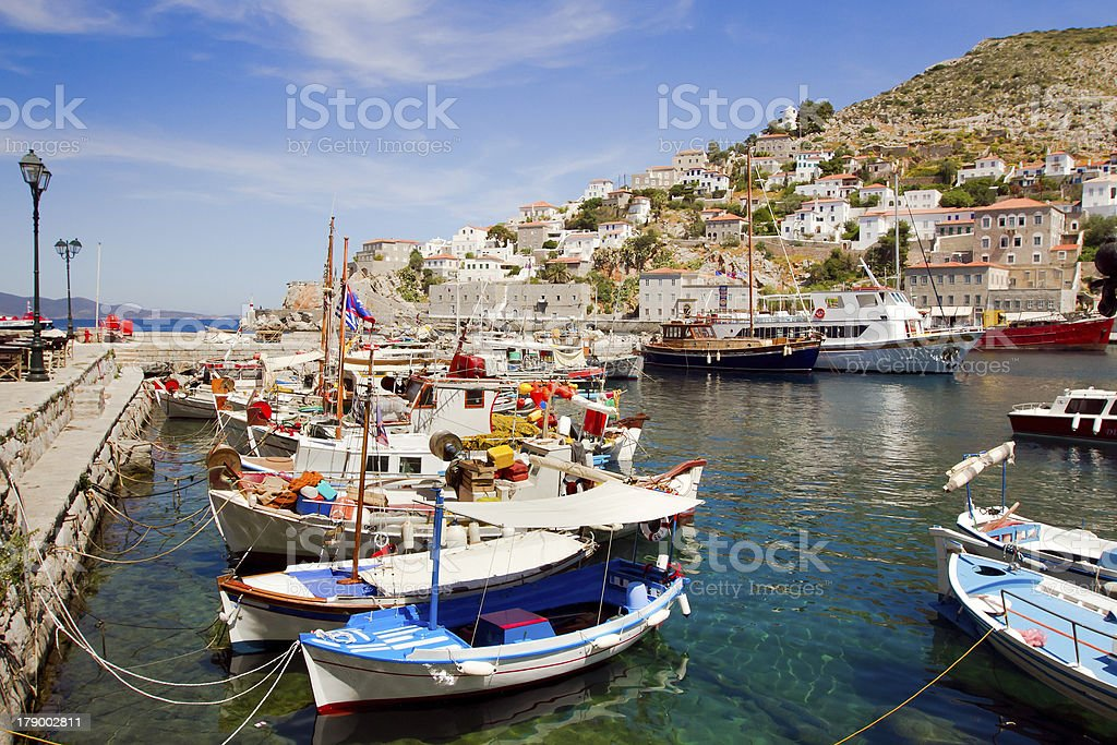 port of Hydra stock photo