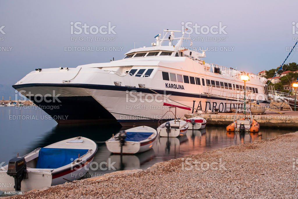 Port of Jelsa on the island of Hvar stock photo