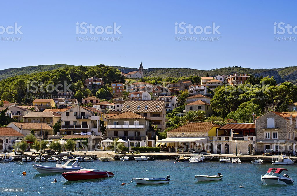 Port of Jelsa town on Hvar island, Croatia stock photo