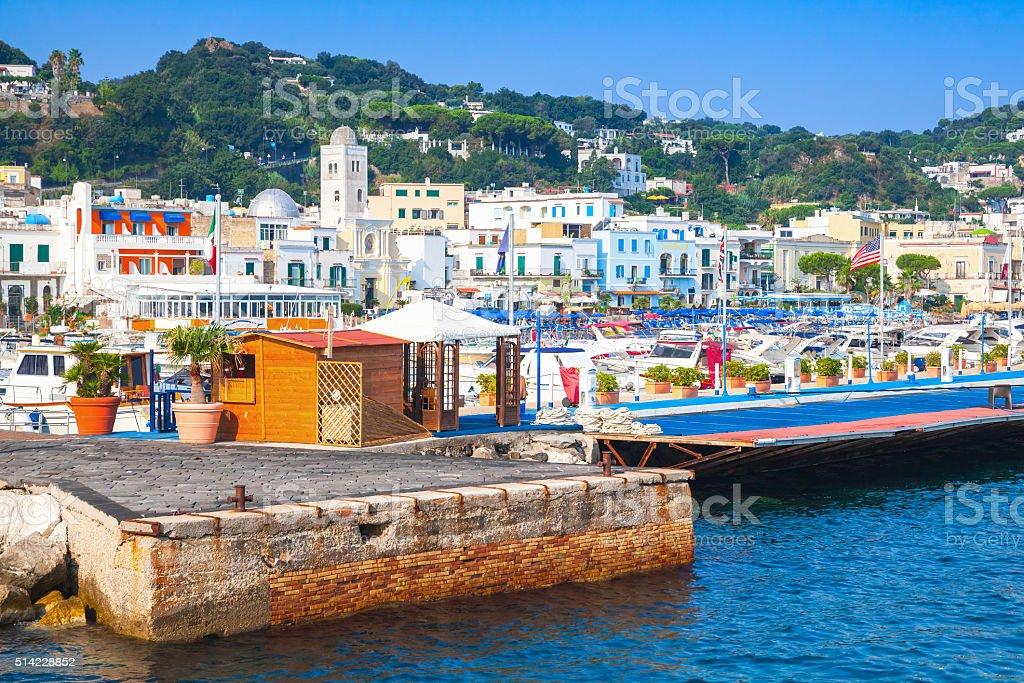 Port of Lacco Ameno resort town, Ischia island stock photo