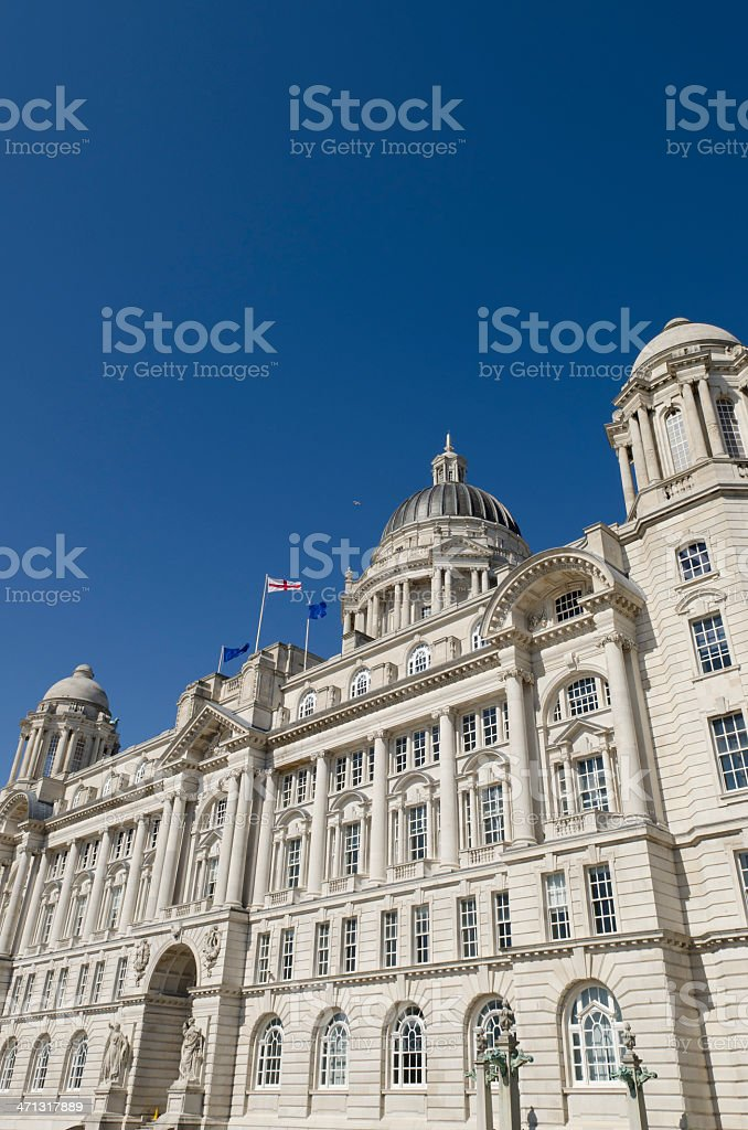 Port of Liverpool Building on a sunny day, Pier Head stock photo