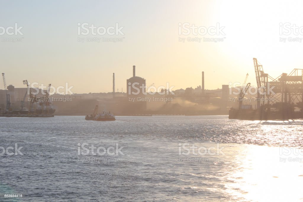 Port of Livorno at sunset stock photo