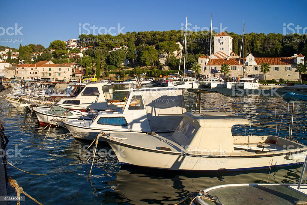 Port of Maslinica with castle Martinis Marchi stock photo