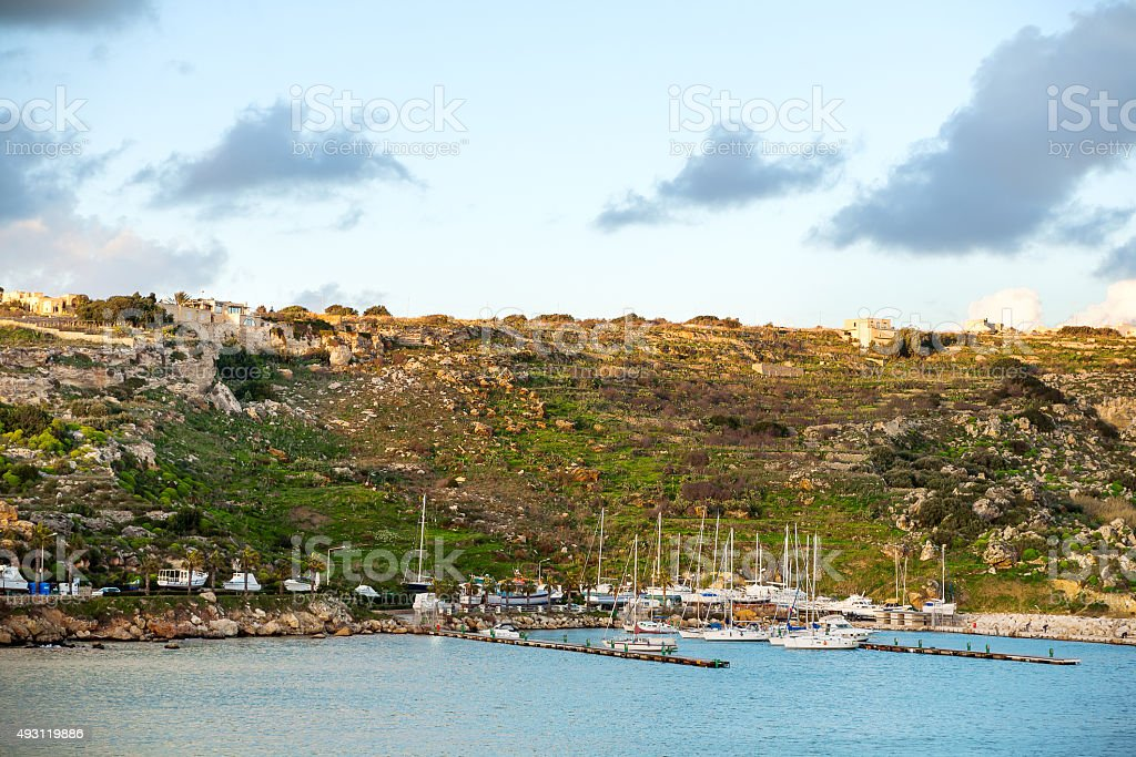 Port of Mgarr at sunset on the small island Gozo stock photo