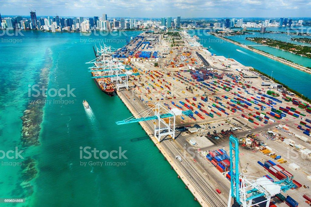Port of Miami Aerial View stock photo
