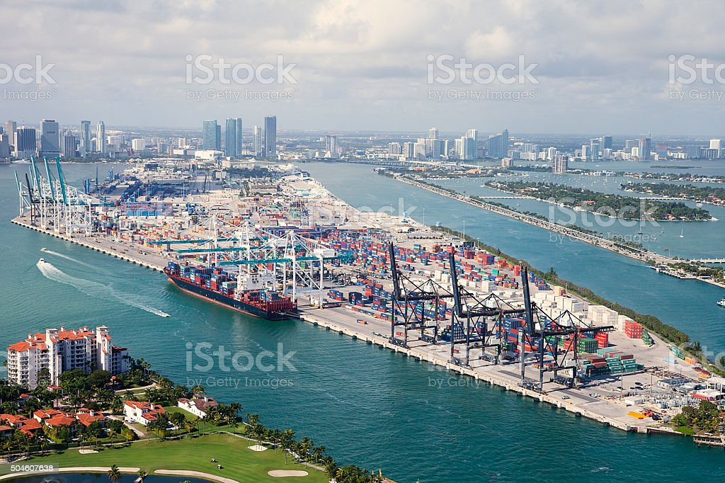 Port of Miami, Florida stock photo