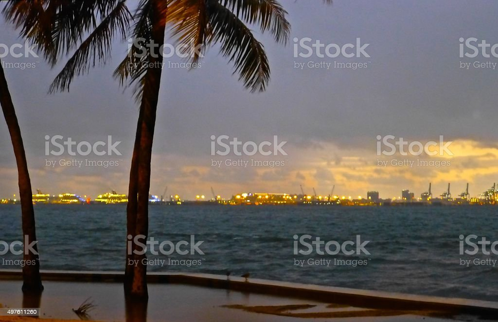 Port of Miami  view stock photo