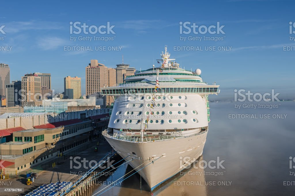 Port of New Orleans, mist on Mississippi River, early morning stock photo