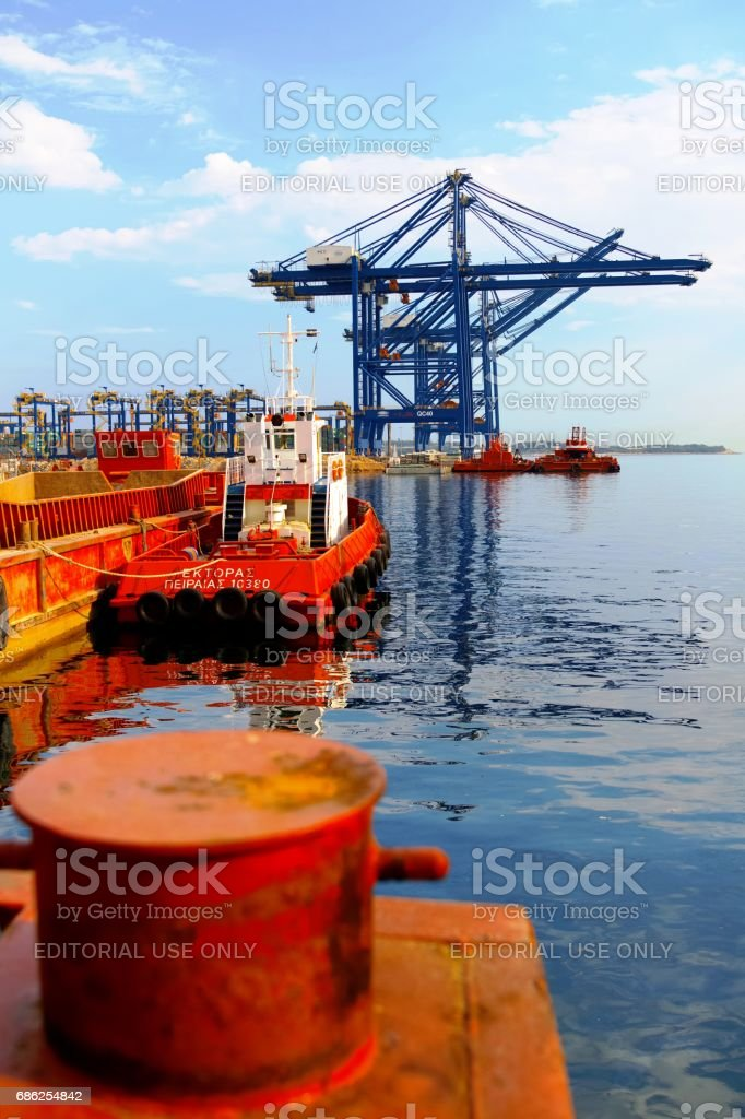 Port of Piraeus Container Terminal (Pier III); Tug 'Hector' stock photo