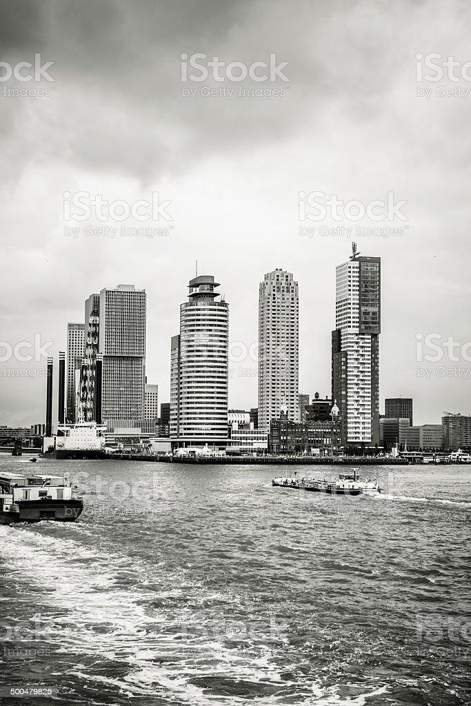 Port of Rotterdam, Wilhelminakade, River Maas stock photo