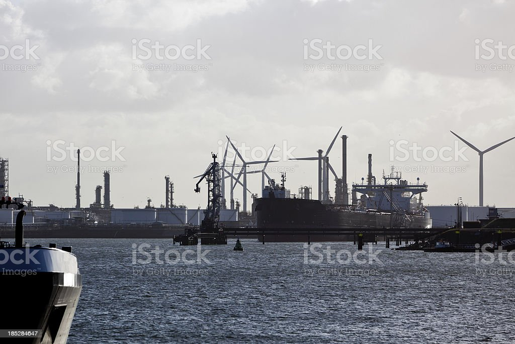 Port of Rotterdam with petrochemical industry stock photo