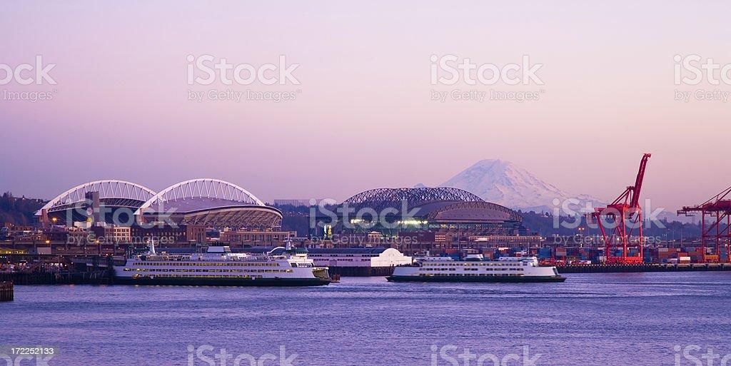 Port of Seattle and Mt. Rainier stock photo