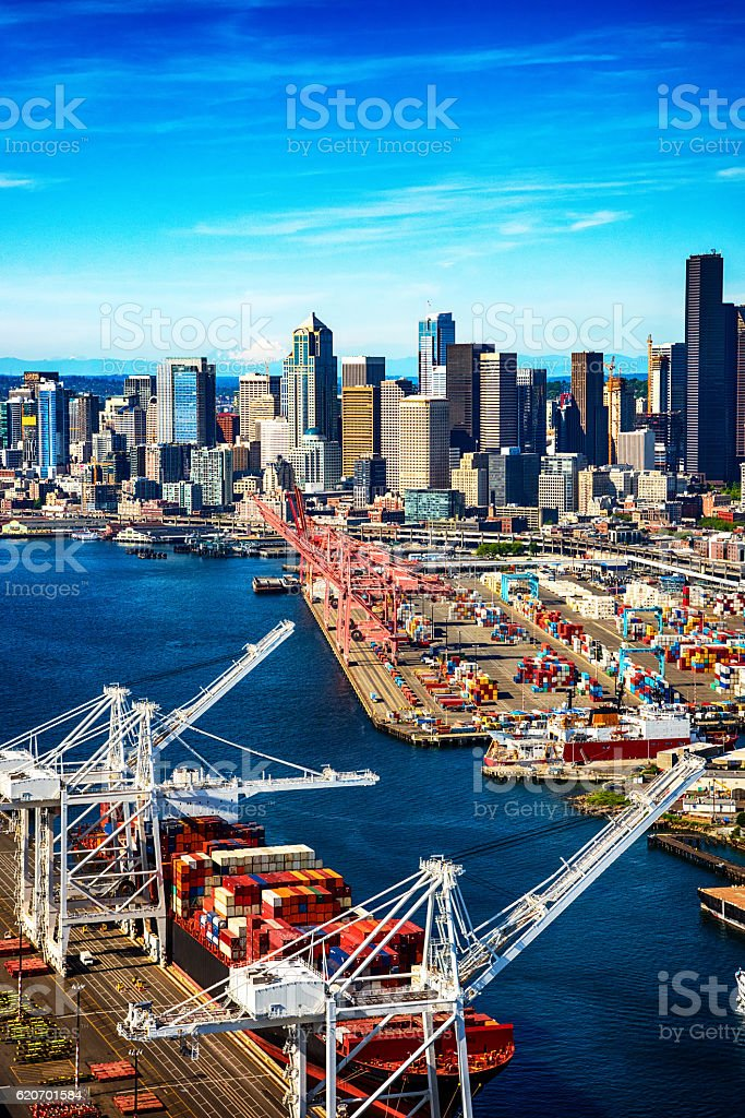 Port of Seattle Washington From Above stock photo