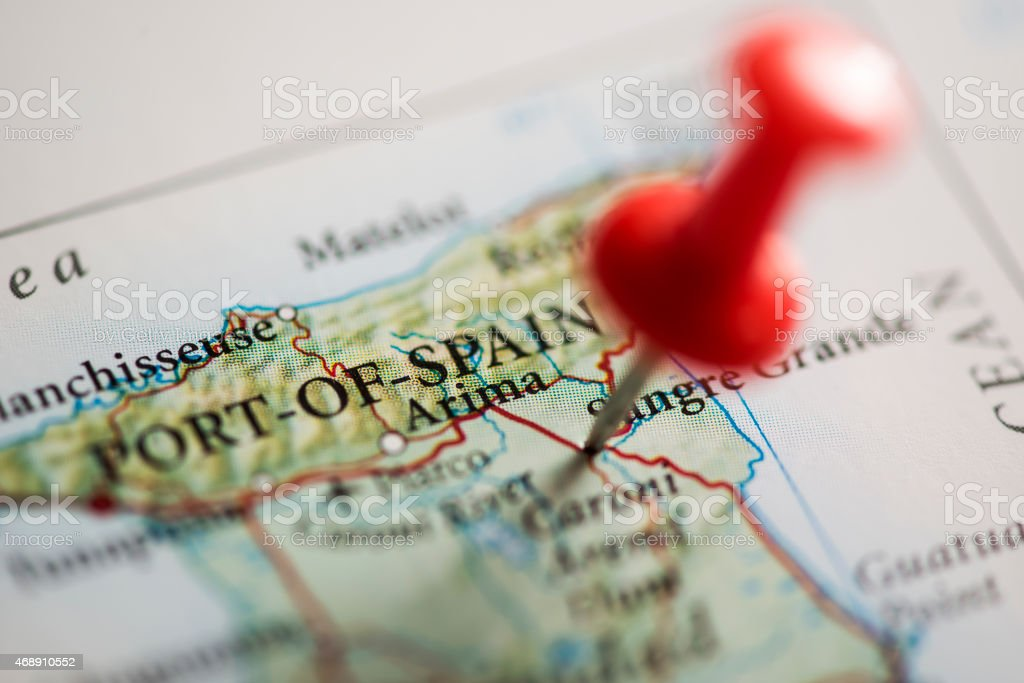 Port of Spain Pinned on Map stock photo