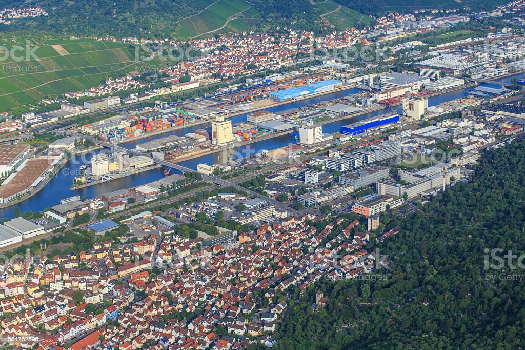 Hafen Stuttgart Untertürkheim stock photo