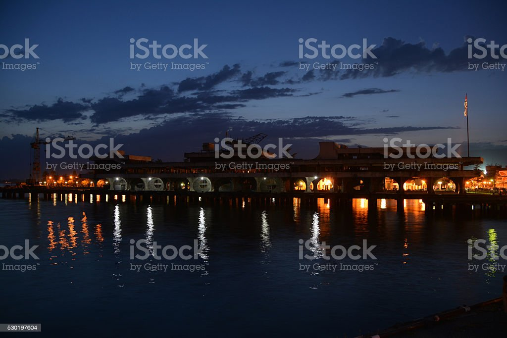 Port of Sukhum in the evening stock photo