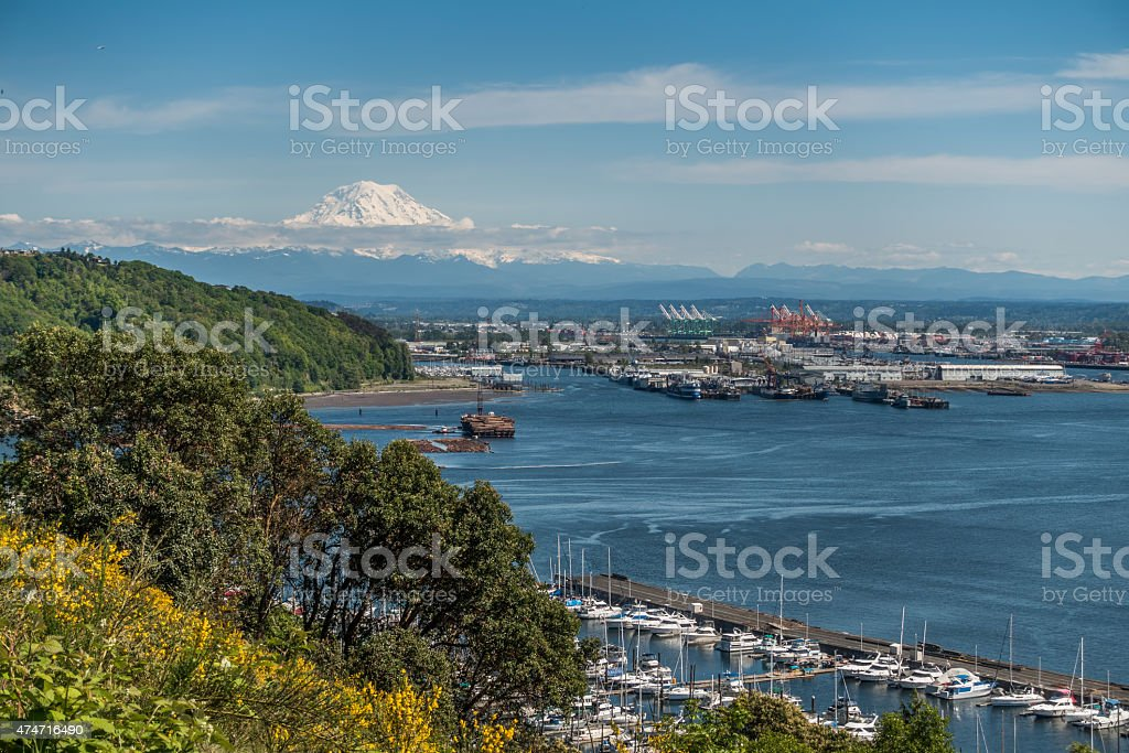 Port Of Tacoma And Mountain 2 stock photo