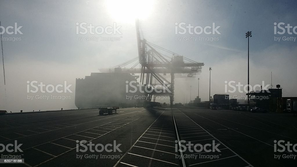 Port of Tacoma foggy stock photo