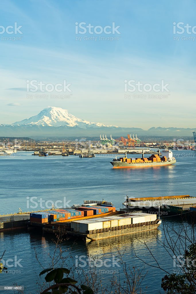 Port of Tacoma With Mount Rainier In Background stock photo