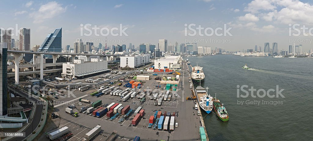 Port of Tokyo container ship dock waterfront skyscrapers panorama Japan royalty-free stock photo