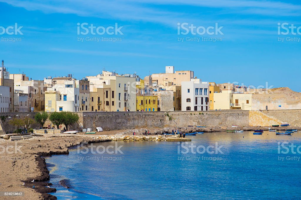 Port of Trapani in Sicily, Italy during clear sunny day stock photo