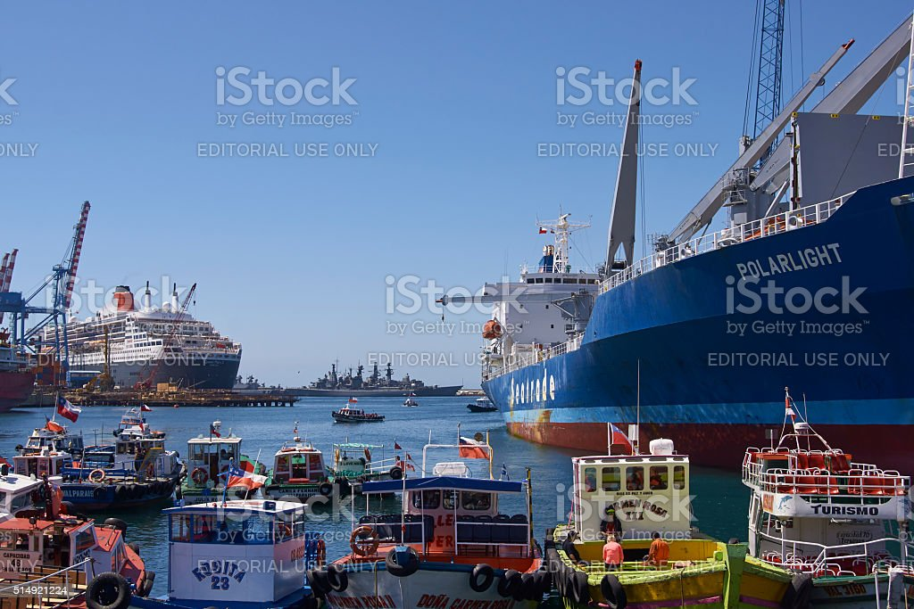 Port of Valparaiso in Chile stock photo