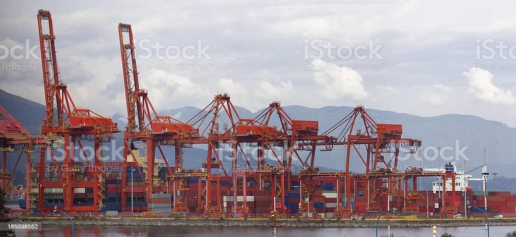 Port of Vancouver BC Cranes and Containers royalty-free stock photo