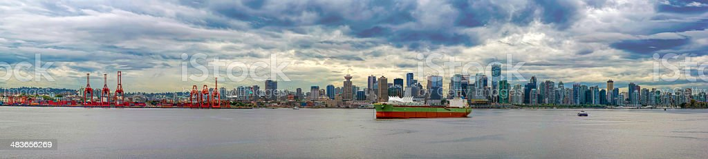 Port of Vancouver BC Panorama stock photo
