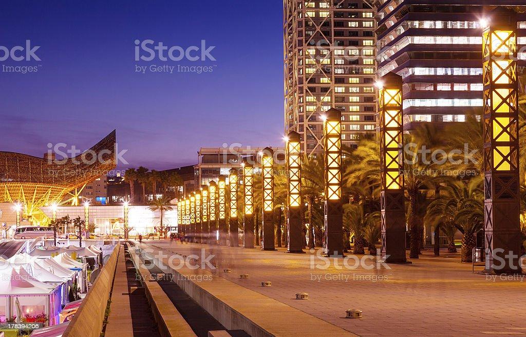Port Olimpic - center of nightlife at Barcelona stock photo