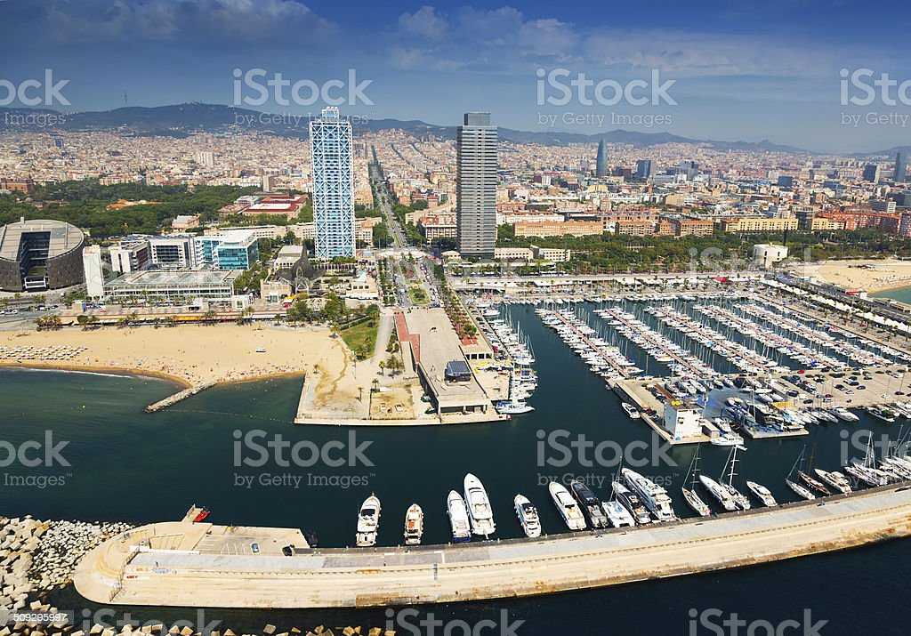 Port Olimpic from helicopter. Barcelona stock photo