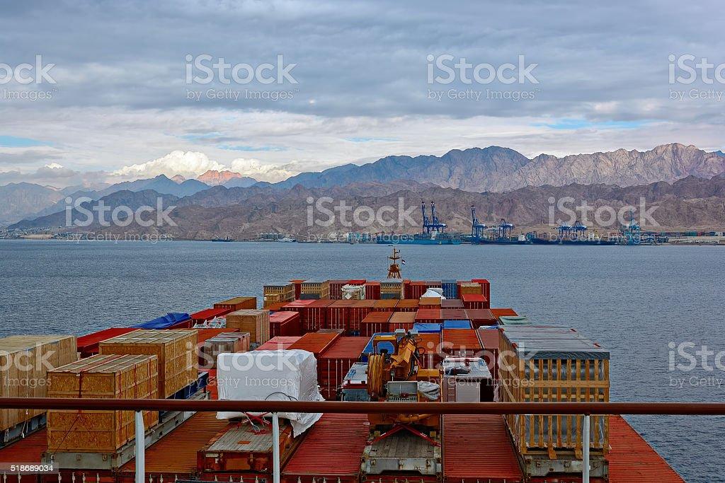 Port on Red Sea rocky coast stock photo