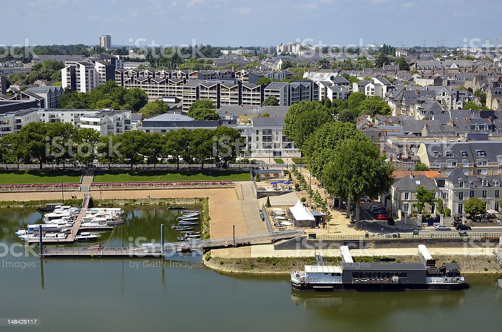 Port on the Maine river at Angers in France stock photo
