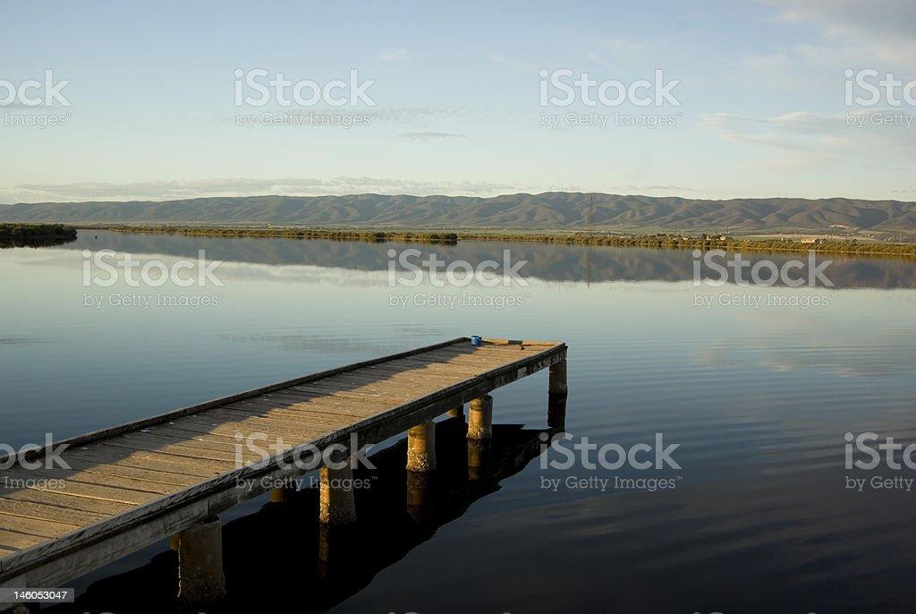 Port Pirie Beach overlooking flinders ranges stock photo