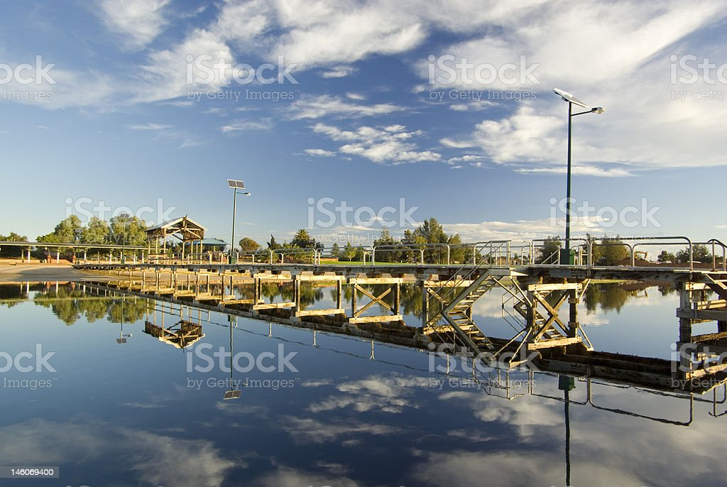 Port Pirie Beach, Reflections of the Jetty stock photo