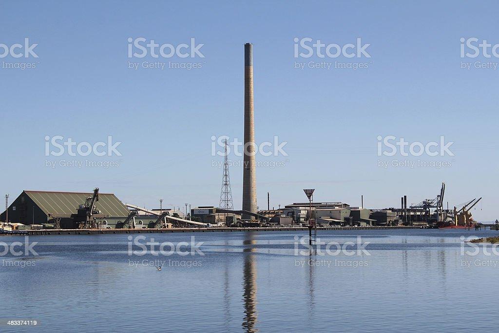 Port Pirie, South Australia. Skyline featuring lead smelter stock photo