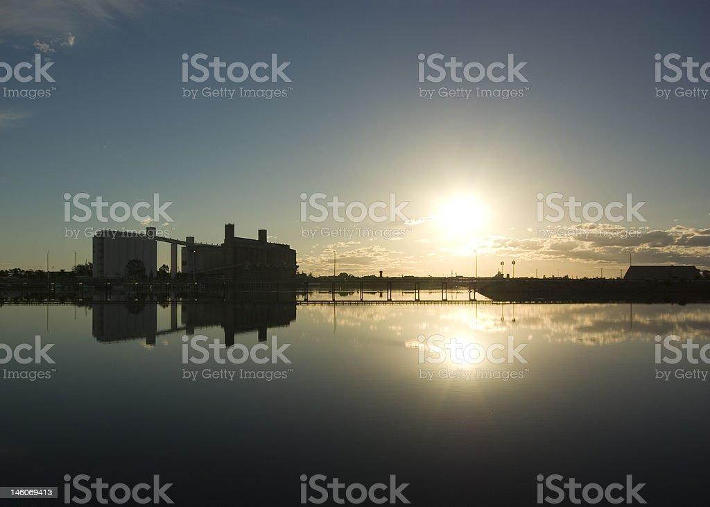 Port Pirie Wharf, Reflection of Silo's stock photo