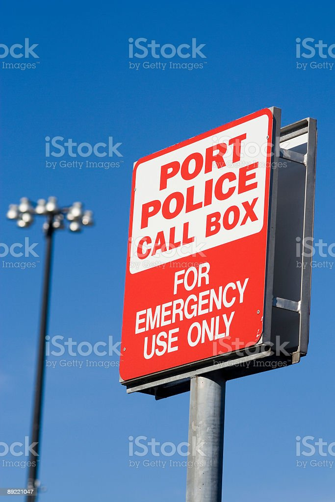 Port police call box; blue sky royalty-free stock photo