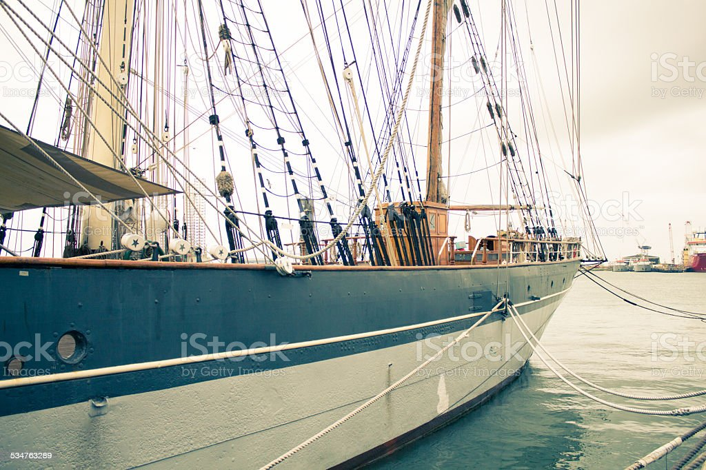 Port side of 1877 Tall Ship Elissa royalty-free stock photo
