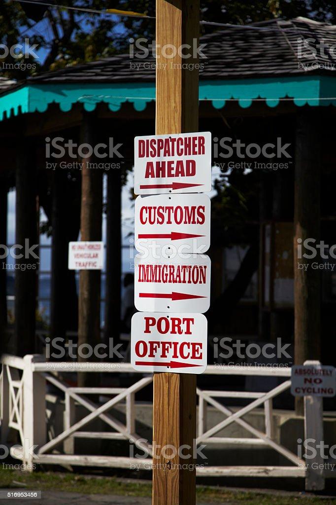 Port Signage In Charlestown Nevis West Indies stock photo
