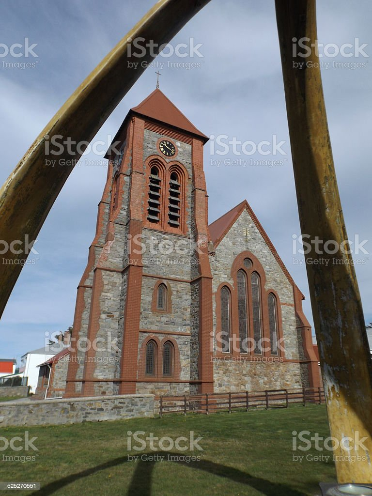 Port Stanley Cathederal stock photo