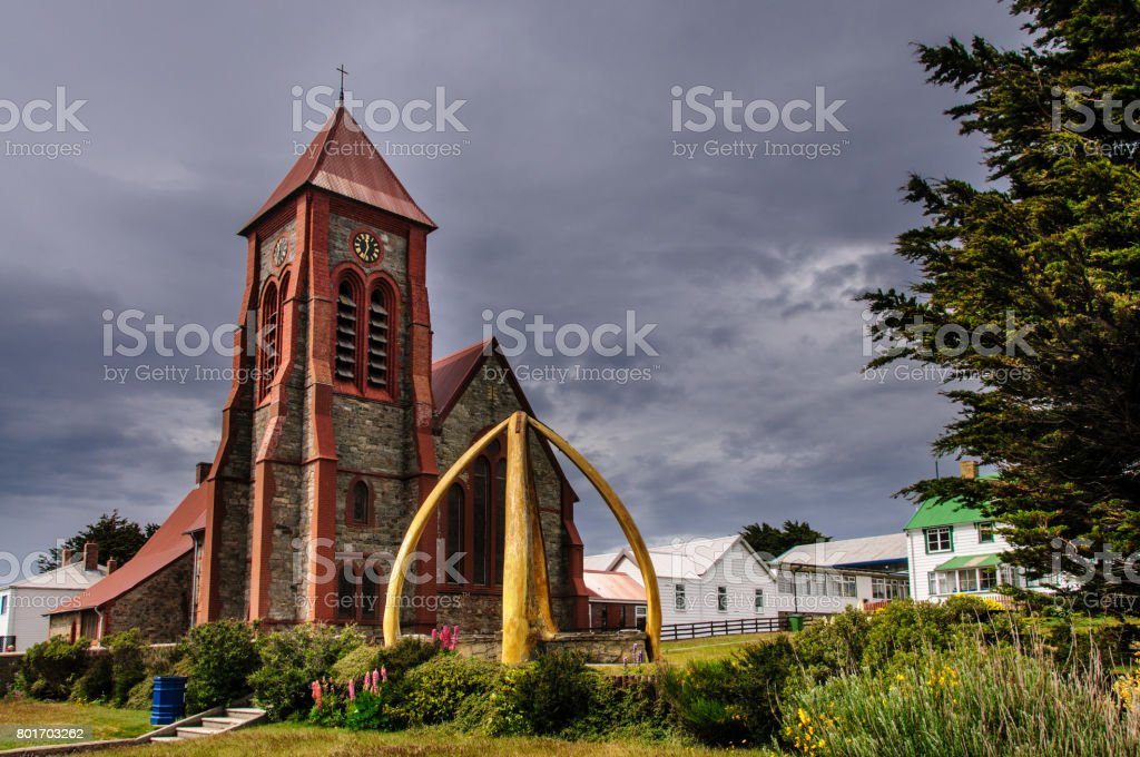 Port Stanley Cathedral stock photo