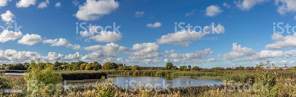 Port Sunlight river park panorama uk. stock photo