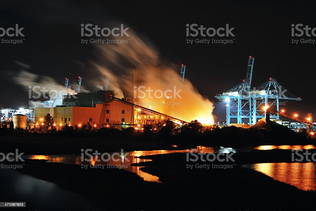 Port Terminal and  Power Plant at Night royalty-free stock photo