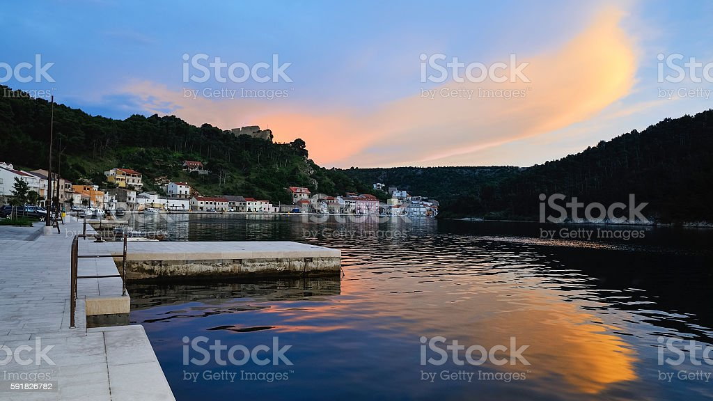 Port town Novigrad in Croatia in the evening with clouds stock photo
